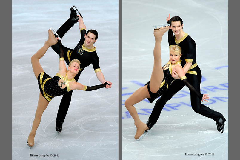Anais Morand and Timothy Leemann (Switzerland) competing the Pairs event at the 2012 European Figure Skating Championships at the Motorpoint Arena in Sheffield UK January 23rd to 29th.