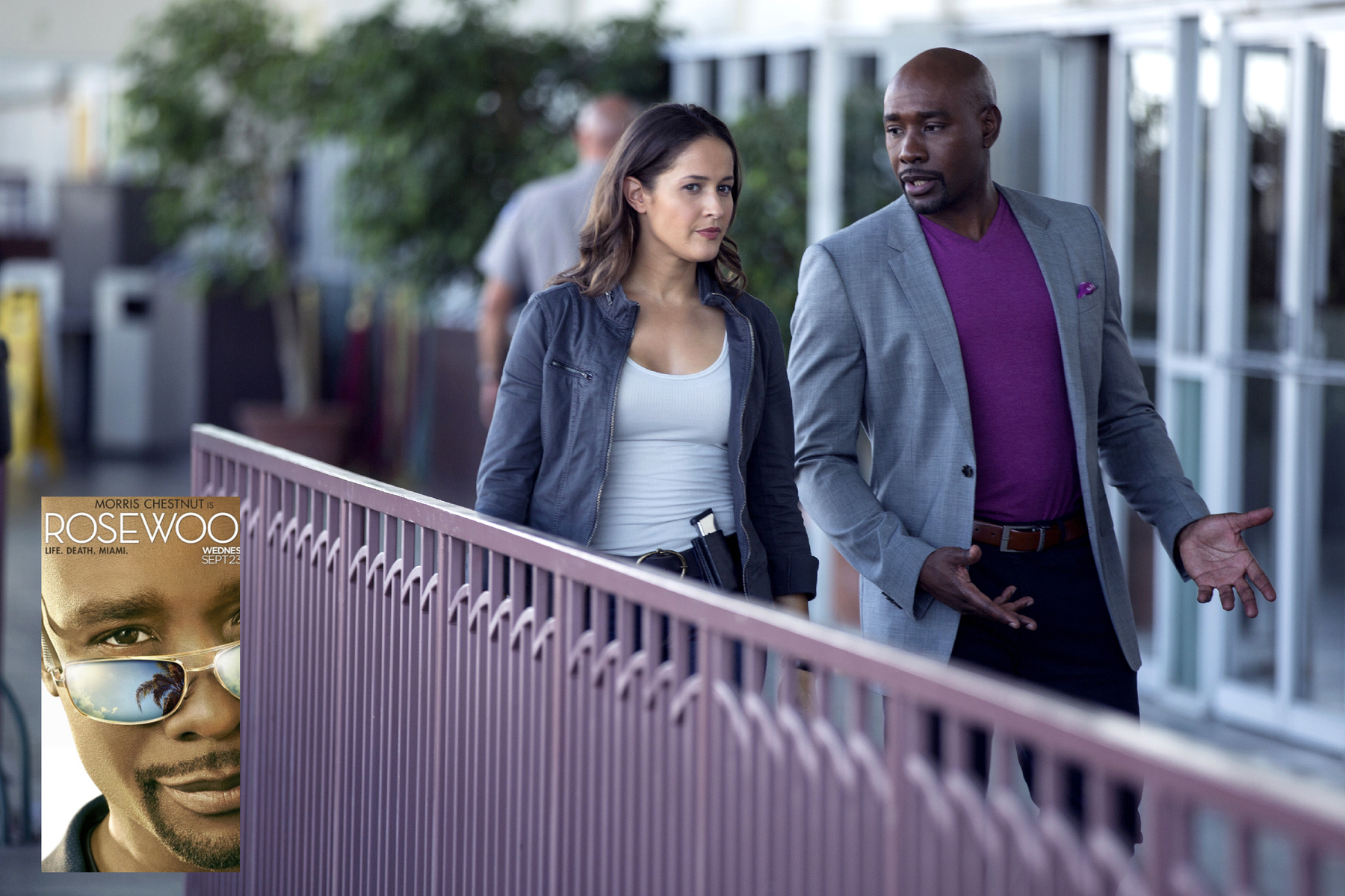 "ROSEWOOD: L-R: Jaina Lee Ortiz and Morris Chestnut in the ""Policies and Ponies"" episode of ROSEWOOD airing Wednesday, Nov. 4 (8:00-9:00 PM ET/PT) on FOX. 2015 Fox Broadcasting Co. Cr: John P. Fleenor/FOX."