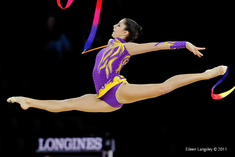 Nataly Hamrikova (Czech Republic) competing with Ribbon at the World Rhythmic Gymnastics Championships in Montpellier.