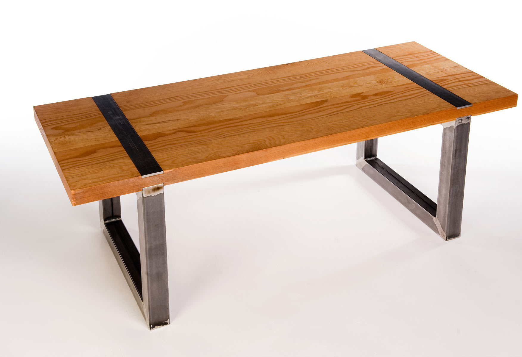 Bench made from waxed steel tube and plate with reclaimed Douglas Fir planks.  