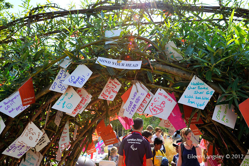 Goodwill and good luck messages left by spectators and families in the landscaped garden adjacent to the Stadium.