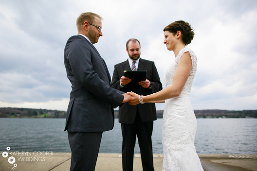 Syracuse wedding photography on the lake as couple says vows