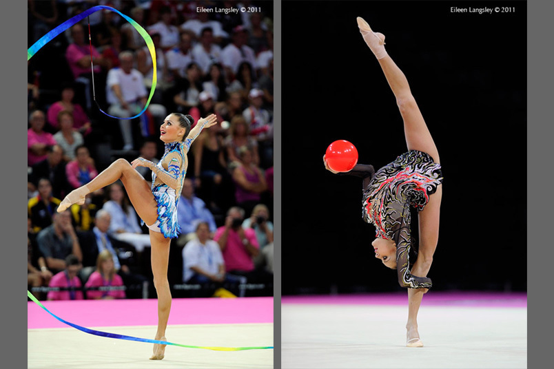 Ulyana trofimova (Uzbekhistan) competing with Ribbon and Ball at the World Rhythmic Gymnastics Championships in Montpellier.