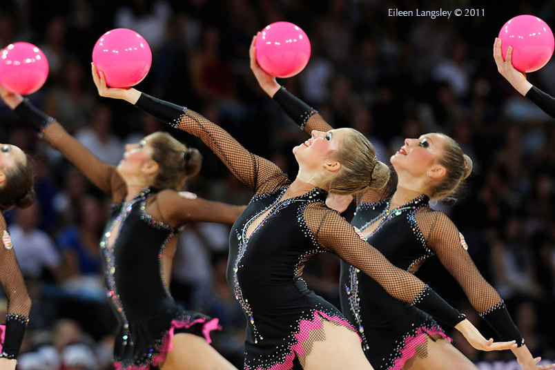 The group from Hungary competing at the World Rhythmic Gymnastics Championships in Montpellier.