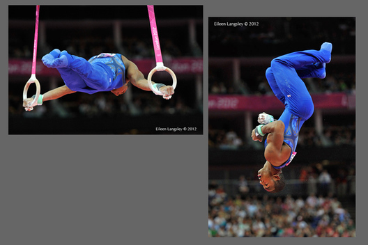 John Orozco (USA) competing on Rings during the team competition of the Gymnastics event at the 2012 London Olympic Games.
