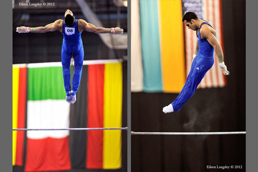 Danell Leyva (USA) competing on High Bar at the 2012 FIG World Cup in the Emirates Arena Glasgow December 8th