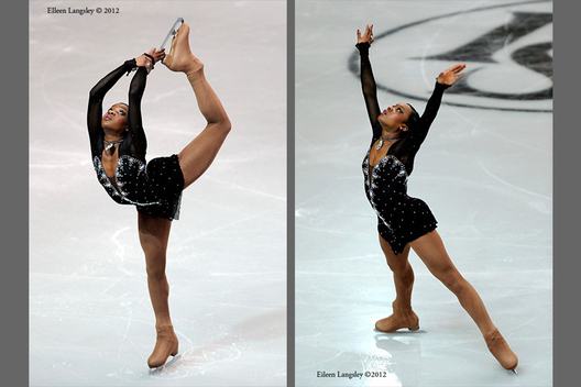 Yretha Silete (France) competing her short programme at the 2012 European Figure Skating Championships at the Motorpoint Arena in Sheffield UK January 23rd to 29th.