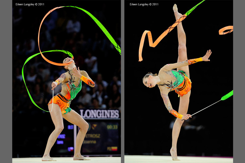 Joanna Mitrosz (Poland) competing with Ribbon at the World Rhythmic Gymnastics Championships in Montpellier.