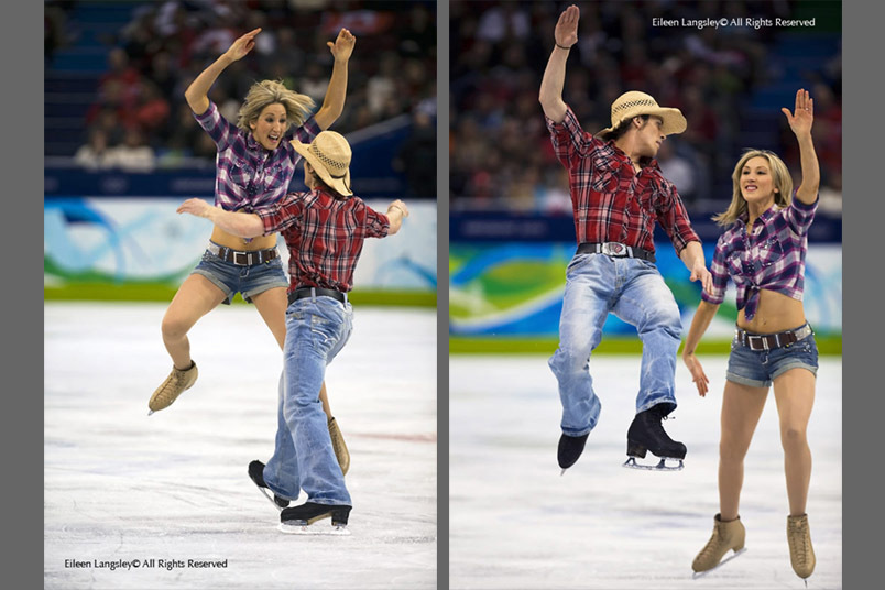 A double image of British ice Dancers Sinead and John Kerr during their Original Dance at the 2010 Winter Olympic Games in Vancouver.