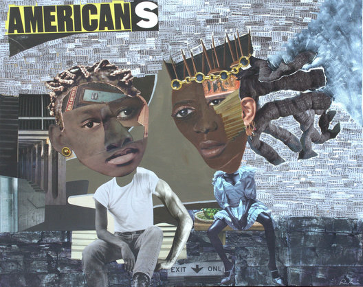 "24"" x 30"", 2019 , mixed media painting. $725. ""Americans"" is a painting about the racial divide. It saddens me that we as a nation continue to suppress diversity and equality for people of color. The social imbalance enters their relationships.  Some men have fewer opportunities and are made to feel inferior. They have to try many doors before one opens to them. She's a queen- wears the crown, when she enters a room she wants you to know she has arrived. 