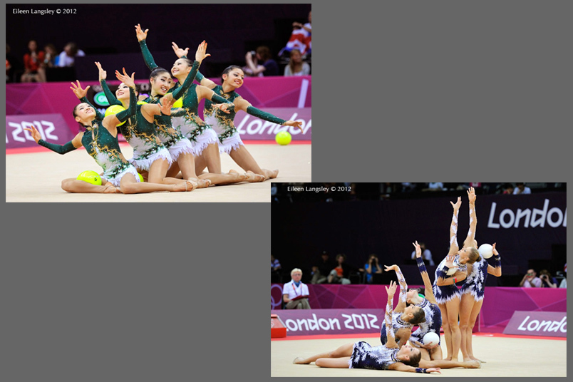 The groups from Japan and Belarus compete their routine with five balls during the Rhythmic Gymnastics event at the 2012 London Olympic Games.