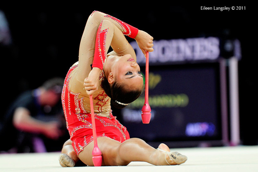 Taylor Tirahardjo (Australia) competing with Ribbon at the World Rhythmic Gymnastics Championships in Montpellier.