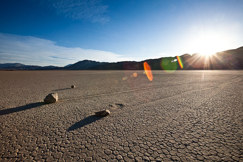 The famous moving boulders at The Racetrack, Death Valley National Park, Calif.