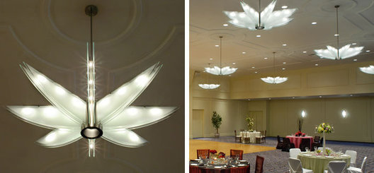 Plate glass and brushed nickel custom pendants for multi function worship space