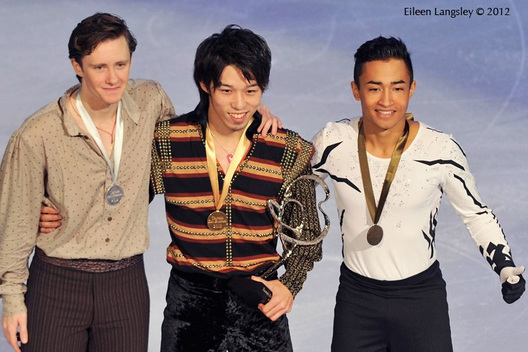 Medallists in the Men's competition at the 2012 ISU Grand Prix Trophy Eric Bompard at the Palais Omnisports Bercy