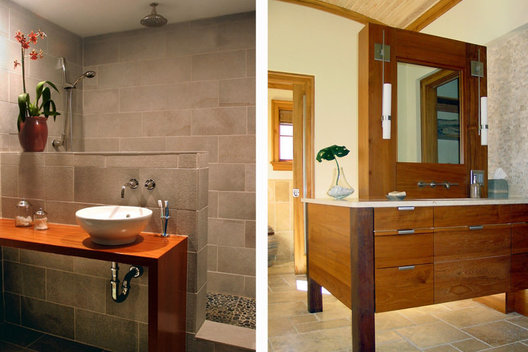 Left: Teak with Vessel Sink