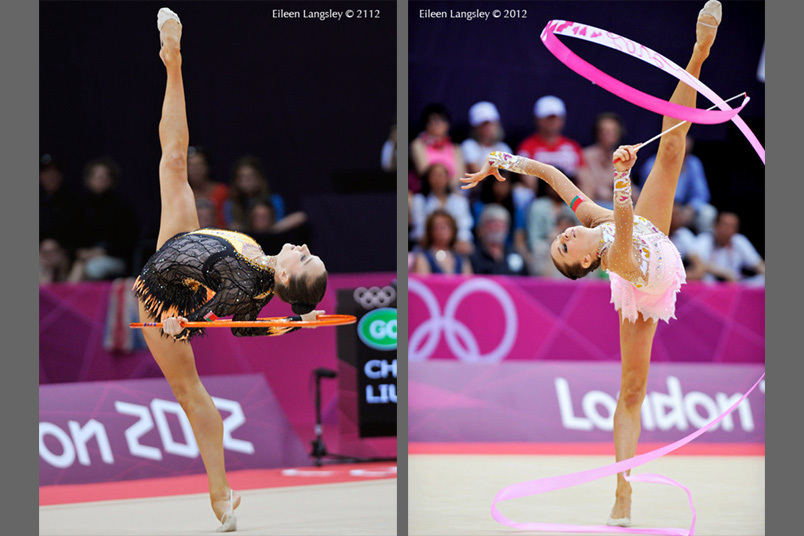 Lioubou Charkashyna (Belarus) competing with Ribbon and Hoop during the Rhythmic Gymnastics competition of the London 2012 Olympic Games.
