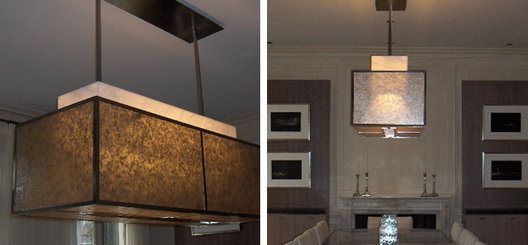 Bronze, mesh, mica and alabaster custom dining room pendant