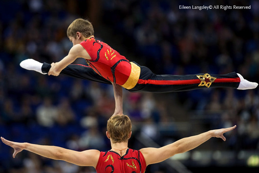 The British Champions in Sports Acrobatics men's Pair put on a display at the 2009 London World Artistic Gymnastics Championships.