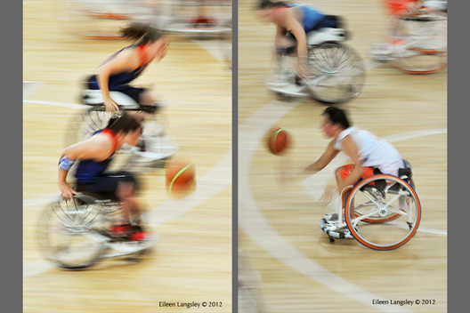A blurred motion image of women's wheelchair Basketball at the London 2012 Paralympic Games.