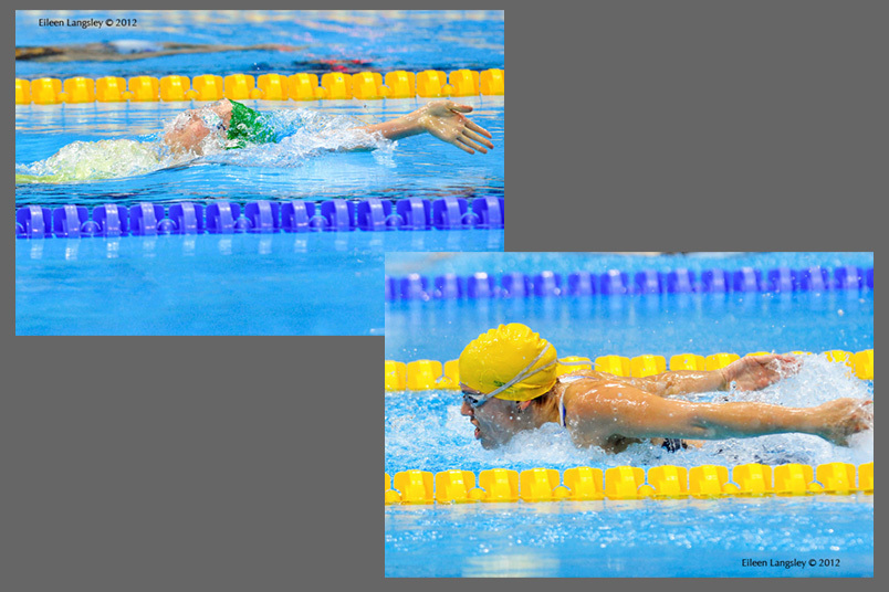 Aussie swimmers Ellie Cole (left) and Jacqueline Freney (right) in action in the swimming competition at the 2012 London Paralympic Games.