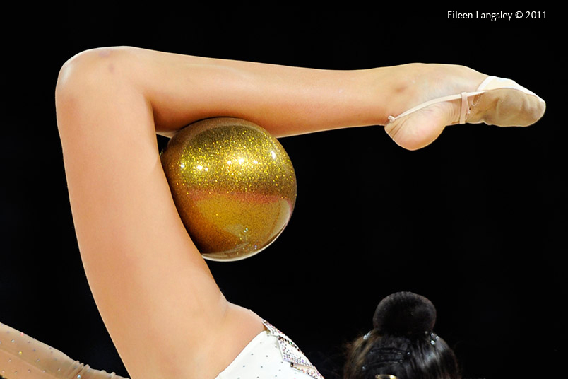 A cropped generic image of Daria Kondakova (Russia) competing with Ball at the World Rhythmic Gymnastics Championships in Montpellier.