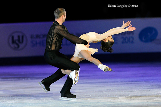 Vera Bazarova and Yuri Larionov (Russia) perform a routine during the exhibition at the 2012 European Figure Skating Championships at the Motorpoint Arena in Sheffield UK January 23rd to 29th.
