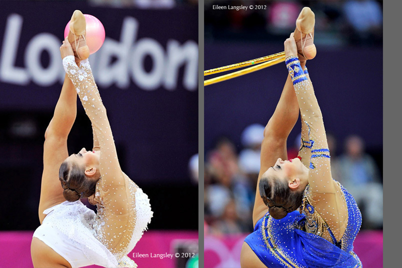 Evgenoya Kanaeva (Russia) winner of the gold medal competing with ball and hoop during the Rhythmic Gymnastics competition at the 2012 London Olympic Games.