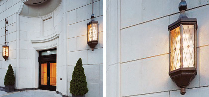 production of solid cast brass and leaded glass custom exterior lanterns to Architect Robert Stern's design for luxury condominium