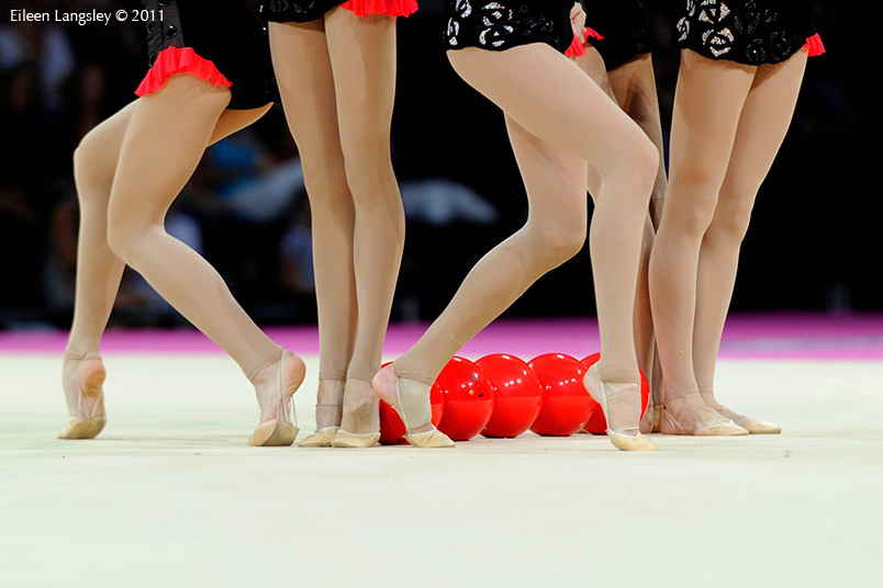 The group from Ukraine competing at the World Rhythmic Gymnastics Championships in Montpellier.