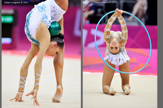 Extreme suppleness shown by silver medallist Daria Dmitrieva (Russia) during the Rhythmic Gymnastics event at the 2012 London Olympic Games.
