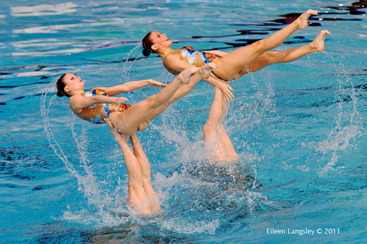 The Russian team perform a risky lift move during their routine at the European Synchronised Swimming Champions Cup at Ponds Forge Sheffield, May 2011.