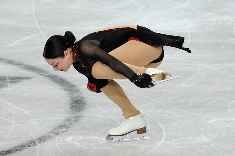 Elene Gedevanishvilii (Georgia) competing in the Ladies event at the 2012 European Figure Skating Championships.