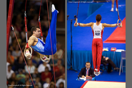 A double image of gymnasts competing on Rings and out to impress the judges at the 2009 London World Artistic Gymnastics Championships - Robert Stanescu (Romania) left and Fabian Leimlehner (Austria) right.