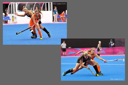 Action from the Netherlands versus New Zealand Women's Hockey match at the 2012 London Olympic Games.