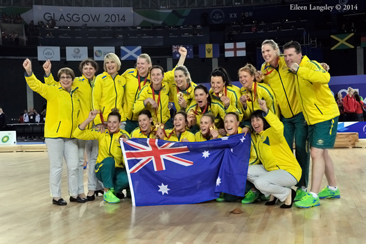 The team from Australia win the gold medal in the Netball competition at the 2014 Glasgow Commonwealth Games.