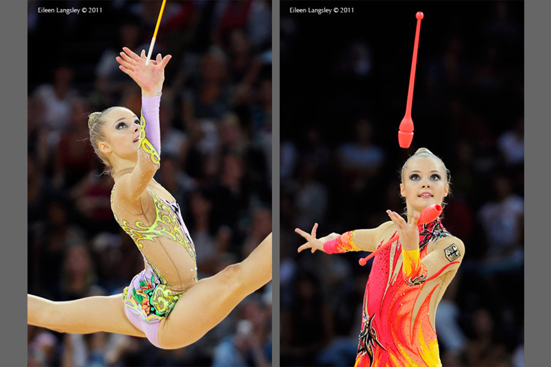 Laura Jung (Germany) competing with Clubs and Ribbon at the World Rhythmic Gymnastics Championships in Montpellier.