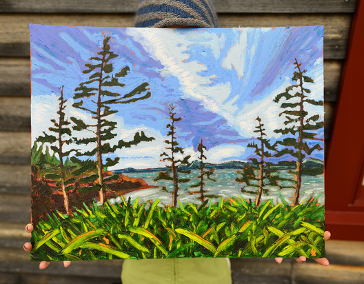 "Pre framed, 20""x16"", A blustery day on the shore in the fall."