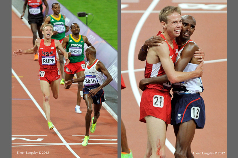 Mo Farrah (Great Britain) wins the 10000 metres at the 2012 London Olympic Games but checks to see if his training partner has made it too.