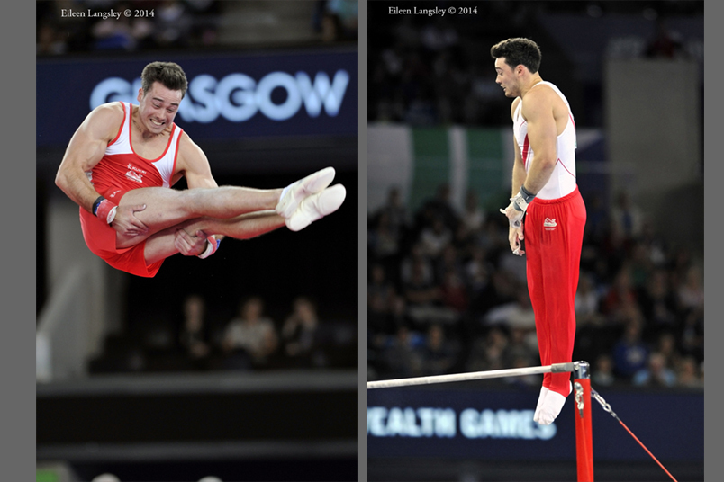 Kristian Thomas (England) competing on Floor and High Bar at the Gymnastics competition of the 2014 Glasgow Commonwealth Games.