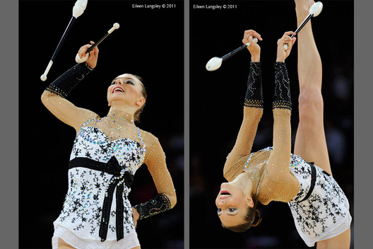 Joanna Mitrosz (Poland) competing with Clubs at the World Rhythmic Gymnastics Championships in Montpellier.