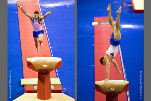 A double image of British gymnasts competing on vault - Kristian Thomas (left) and Daniel keatins (right) at the 2009 London World Artistic Gymnastics Championships.