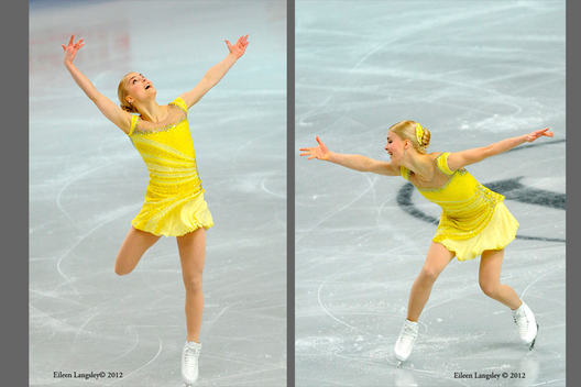 Kiira Korpi (Finland) competing her short programme at the 2012 European Figure Skating Championships at the Motorpoint Arena in Sheffield UK January 23rd to 29th.