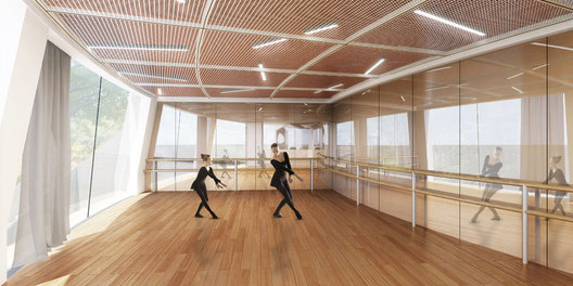 Ballet dance studio of ART PLUS III, a Children Performing Art Education Center designed by Singapore-based AND lab in Shenzhen Baihua