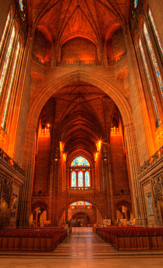 High dynamic range (HDR) image of the stunning Liverpool Cathedral in Liverpool, England