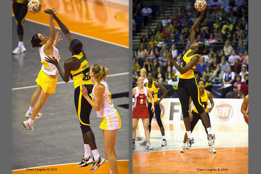 A double action image of players leaping for the ball during the 2010 World Series Netball Championships in Liverpool in the matches between Jamaica and Australia (left) and Jamaica and England (right).