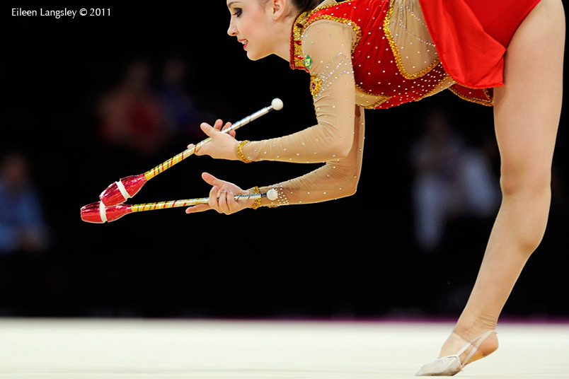 Simone Luiz(Brazil) competing with Clubs at the World Rhythmic Gymnastics Championships in Montpellier.