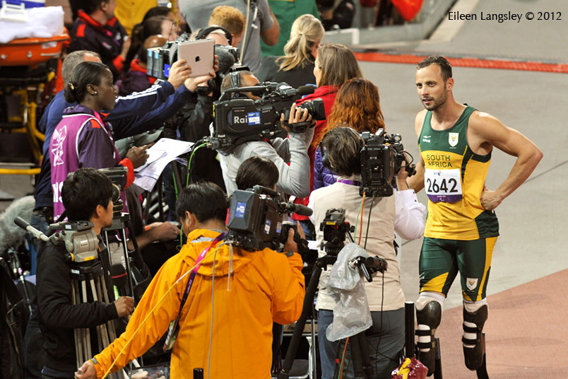 After the 200 metres T44 final, Oscar Pistorius makes his opinion about the fairness of the result known to the waiting press during the Athletics competition of the London 2102 Paralympic Games.