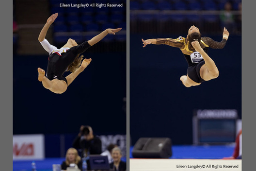 Gymnasts Elizabeth Seitz, Austria (left) and Salma El Mahmoud, Egypt (right) perform and artistic leaps during their Floor routines at the 2009 London World Artistic Gymnastics Championships at the 02 Arena.