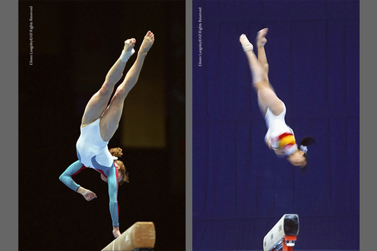 A double action image of Dina Kochetkova (Russia) left, frozen mid action and a blurred action image of a gymnast (right) performing a twisting dismount from the Balance Beam.
